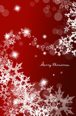 Abstract background with snowflakes and Merry Christmas text - v