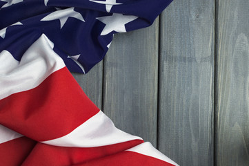 United States of America flag with empty space to write your text on wooden background