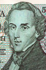 Frederic Chopin portrait from old five thousand zloty