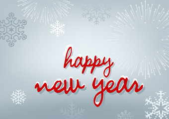Happy New Year Background with Fireworks and Snowflakes - Abstract Illustration, Vector