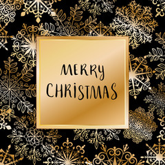 merry christmas vector card with gold snowflakes and hand drawn lettering