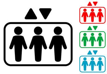 Icono plano ascensor varios colores