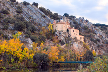 SORIA, SPAIN - NOVEMBER 2, 2016: View of the hermitage of San Saturio, on the banks of the Douro River at sunset