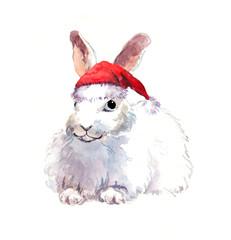 Christmas rabbit in red santa's hat. Watercolor animal