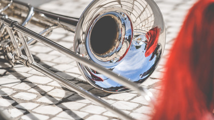 Various instruments and details from a music band of windband