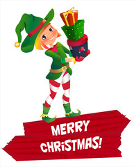 elf Santa s assistant with gifts isolated on a white background