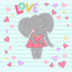Elephant girl with closed eyes having flower in her hand