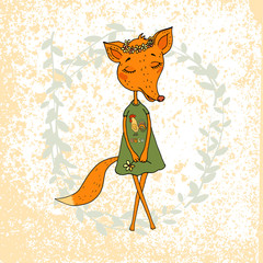 Cute Cartoon Fox in a dress with a rooster
