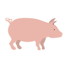 pink pig icon. farm animal over white background. vector illustration