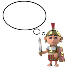 3d Roman centurion soldier with speech balloon
