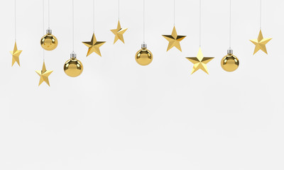 Hanging golden balls and stars ornaments isolated on white background. For new year or christmas theme. 3D rendering.