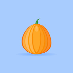 Pumpkin flat style icon. Vector illustration.