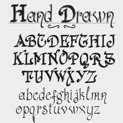 Vintage alphabet, hand drawn font.