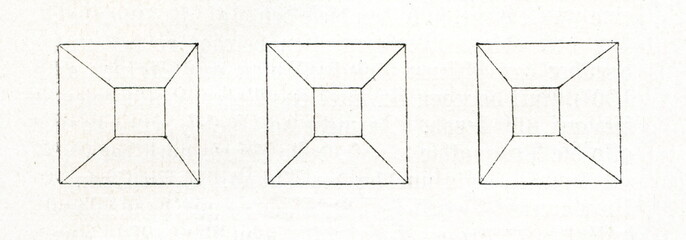 Binocular disparity - pyramid, viewed with the right and the left eye (from Meyers Lexikon, 1895, 7/467)