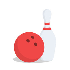 Bowling ball and pin isolated on white background. Bowling ball and pin in cartoon flat style. Vector icon
