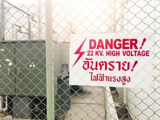 Warning danger high voltage sign and thai language mean danger h