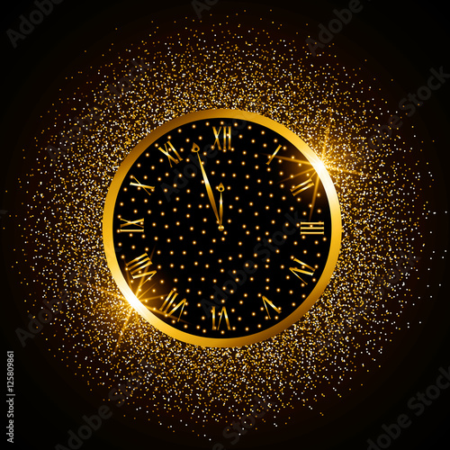 gold watch elegant new year glitter glow on a black background vector
