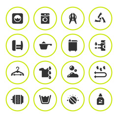Set round icons of laundry