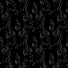 Paisley pattern.Dark black 3d vector paisleys seamless pattern with vintage volumetric 3d paisley flowers .Modern paisley ornaments