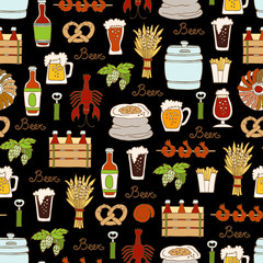 Pattern with hand drawn colored  bottle and glass of beer, snacks  in sketch style. Pattern on the theme of beer on black color