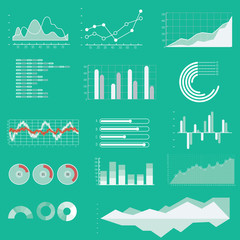 Thin line vector graphs, charts and diagrams with flat elements.