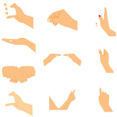 Set of hands icons and symbols, different hands, vector  illustration