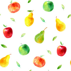 Seamless pattern with apple and pear.Food picture.Watercolor hand drawn illustration.White background.
