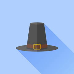 Pilgrim hat flat icon with long shadow on blue background. Thanksgiving symbol. Vector illustration.