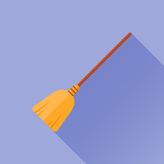 Witches broom stick flat style icon with long shadow on blue background. Vector illustration.