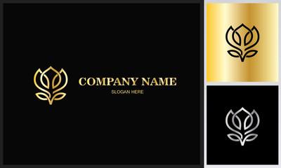 line flower gold logo.