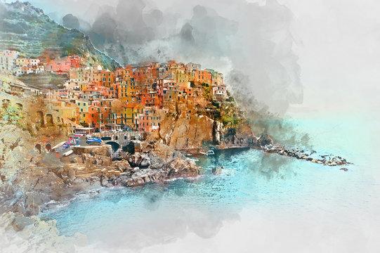 Digital watercolor painting of Manarola. Liguria, Italy