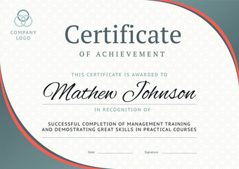 Certificate of achievement template design. Business diploma lay
