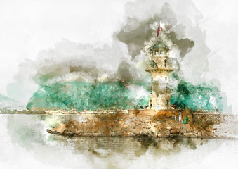Digital watercolour painting of a lighthouse