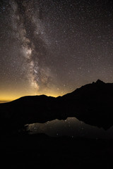milky way over austrian alps