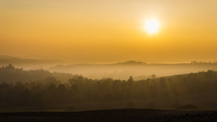 Golden hour in the Monferrato hills in autumn (Piedmont, Italy). Peaceful sight
