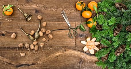 Orange mandarins walnuts antique accessories Christmas tree
