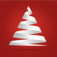 Simple red paper ribbon folded in a shape of Christmas tree. Merry Christmas theme. 3D vector illustration with dropped shadow and red gradient background.