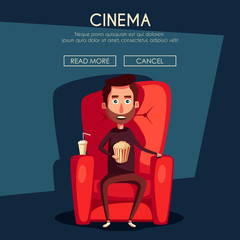 Cinema Time. Home movie watching. Cartoon vector illustration