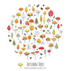 Hand drawn doodle stylized autumn tree collection. Vector tree silhouette isolated on white background. Leaves different size and forms. Forest icons. Eco concept. Nature Orange red yellow collection