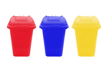 Yellow, Red and blue Bin for Waste separate collection isolated on white background.