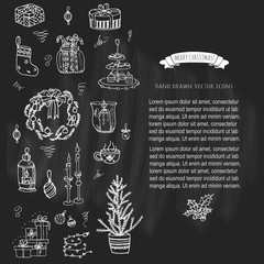 Set of hand drawn sketchy Merry Christmas elements. Doodle vector illustration elements: Candles, gift boxes, wreath, stocking, christmas tree, candy, canes, bells, holly decoration. Happy Holidays!