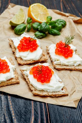 Canapes with red caviar stockfotos und lizenzfreie for Canape with caviar