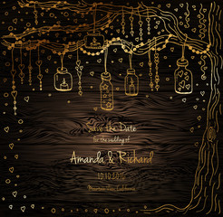 Unique vector wedding cards template with hand drawn tree decorated with lantern, hearts, candle, garland, Christmas eve invitation. Save the date. Bridal design gold and wood texture, natural style.