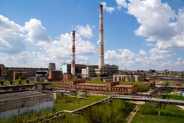 Panorama of factory of synthetic rubber in Efremov, Tula Region