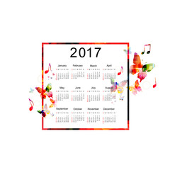 Calendar planner 2017 design template with colorful butterflies. Music themed calendar poster, week starts Sunday. Organization management concept, calendar isolated, vector illustration background