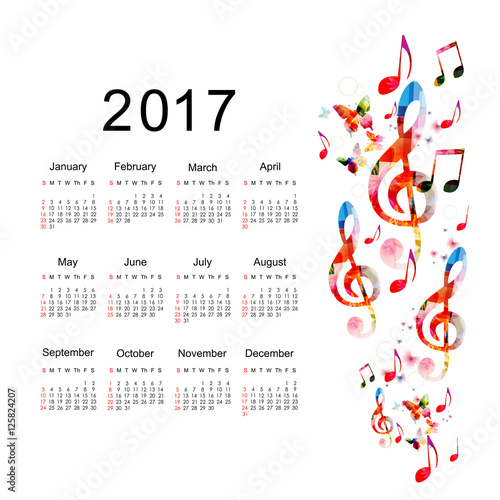 Calendar Planner 2017 Design Template With Colorful Music Notes