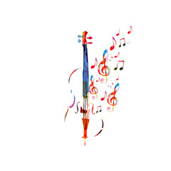 Colorful violoncello with music notes. Music background. Music instrument poster with music notes. Cello design with g-clef. Treble clef and music notes, musical symbols with violoncello.