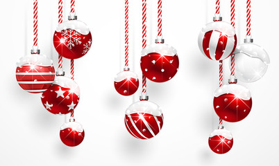 Wall Mural - Red Christmas Balls with Snow
