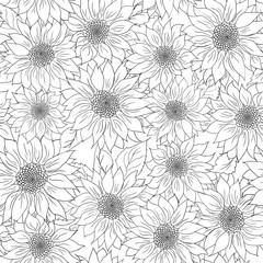 Hand drawn pattern sunflowers background. Flower black white. Packaging products