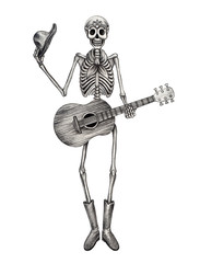 Art skull cowboy day of the dead.Art design skull cowboy playing guitar Hand drawing on paper.